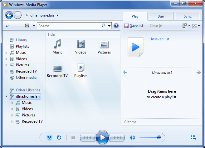 Windows Media Player como cliente dlna