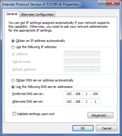 Configuração do servidor DNS no Microsoft Windows 7